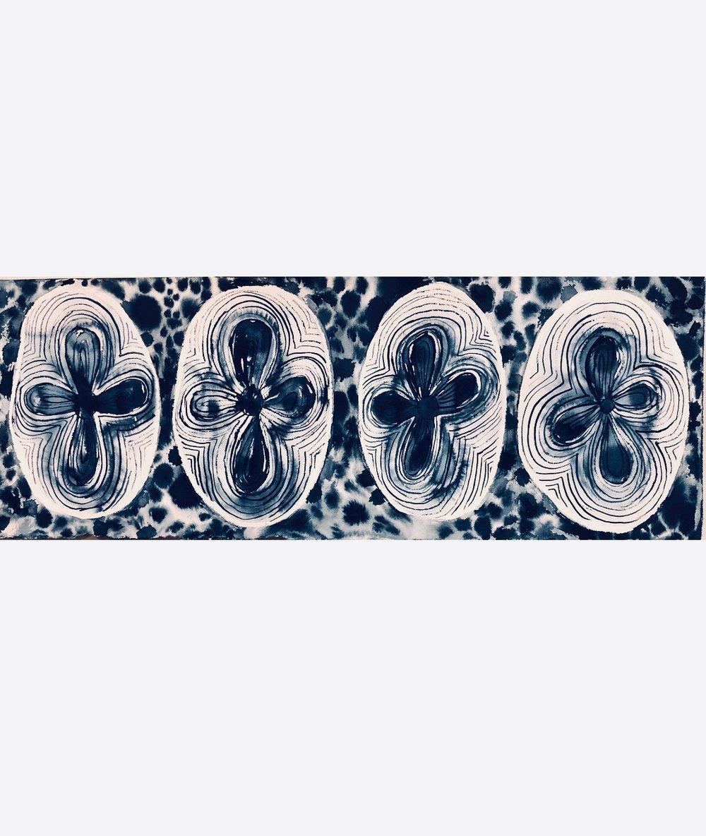 Image of Seed burst - indigo ink on paper