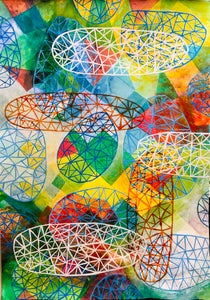 Image of Floating pods mixed media on paper