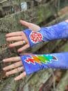 Rainbow bolt batik wrist warmers
