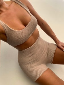 Image of Nude Mini Crop Shorts or Skirt Co-Ord