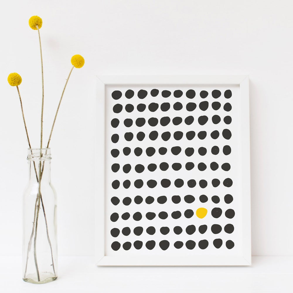 Image of Black and Gold Dots Print