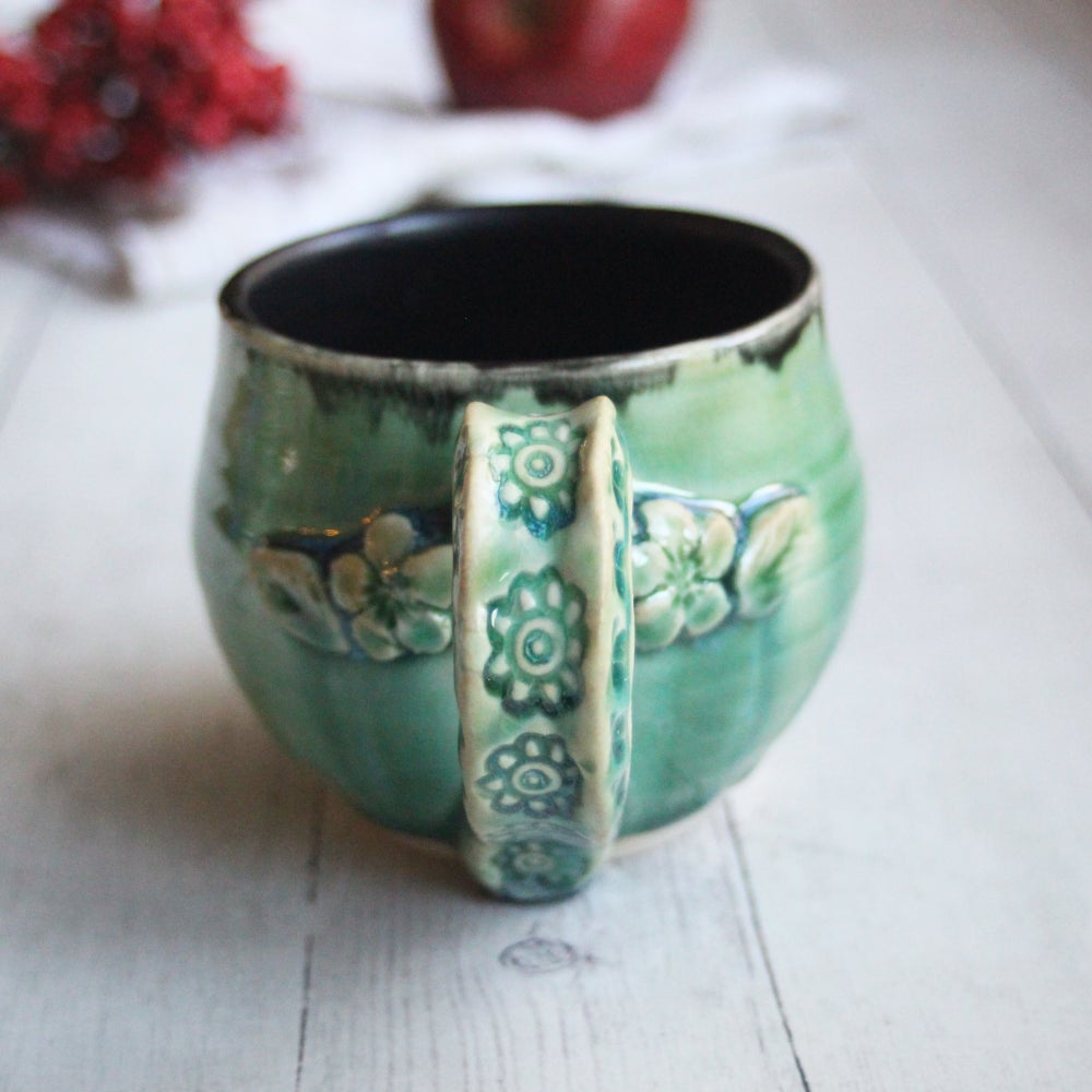 Image of Green Pottery Mug, Handmade Stoneware Coffee Cup, 14 oz., Handmade in USA