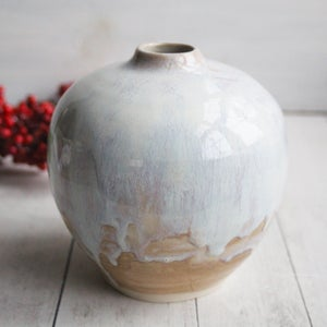 Image of Round Ceramic Vase in Dripping White and Ocher Glazes, Handmade Pottery, Made in USA