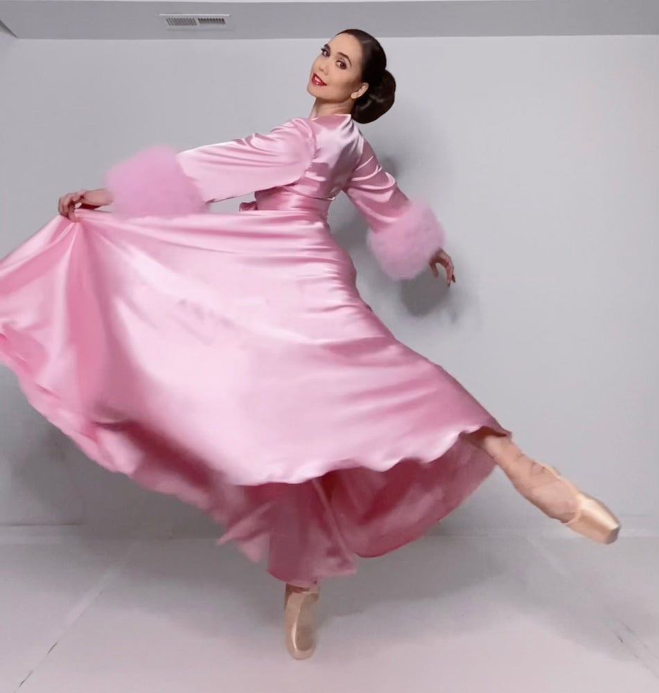 """Image of Pink Marabou-cuffed """"Beverly"""" Dressing Gown 30% OFF DISCOUNT CODE: BEVERLY30"""