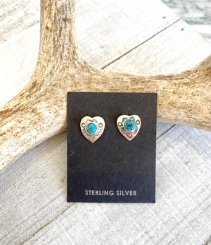 Sweet Heart Earrings with Turquoise