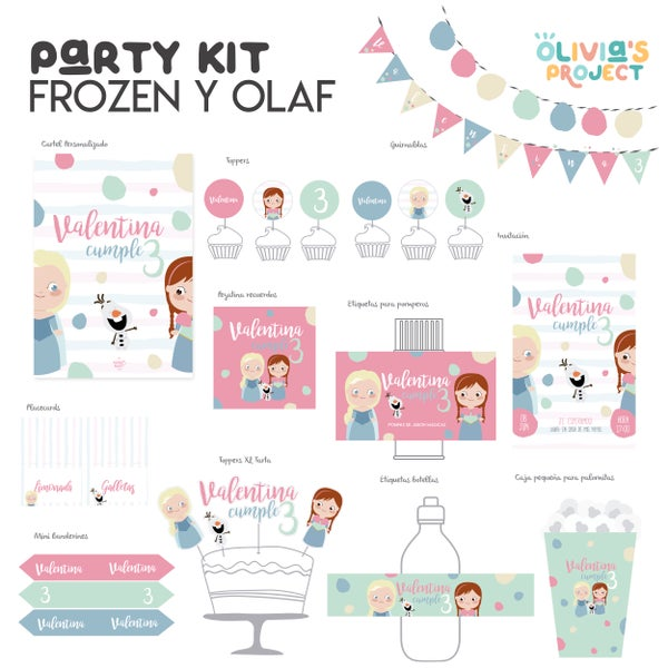 Image of Party Kit Frozen y el verano de Olaf Impreso