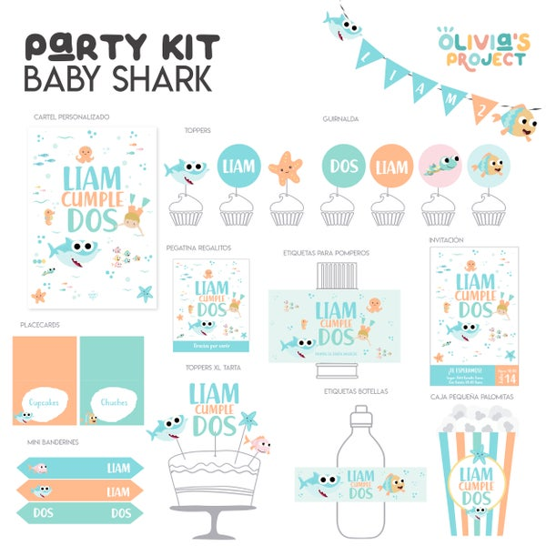 Image of Party Kit Baby Shark Impreso