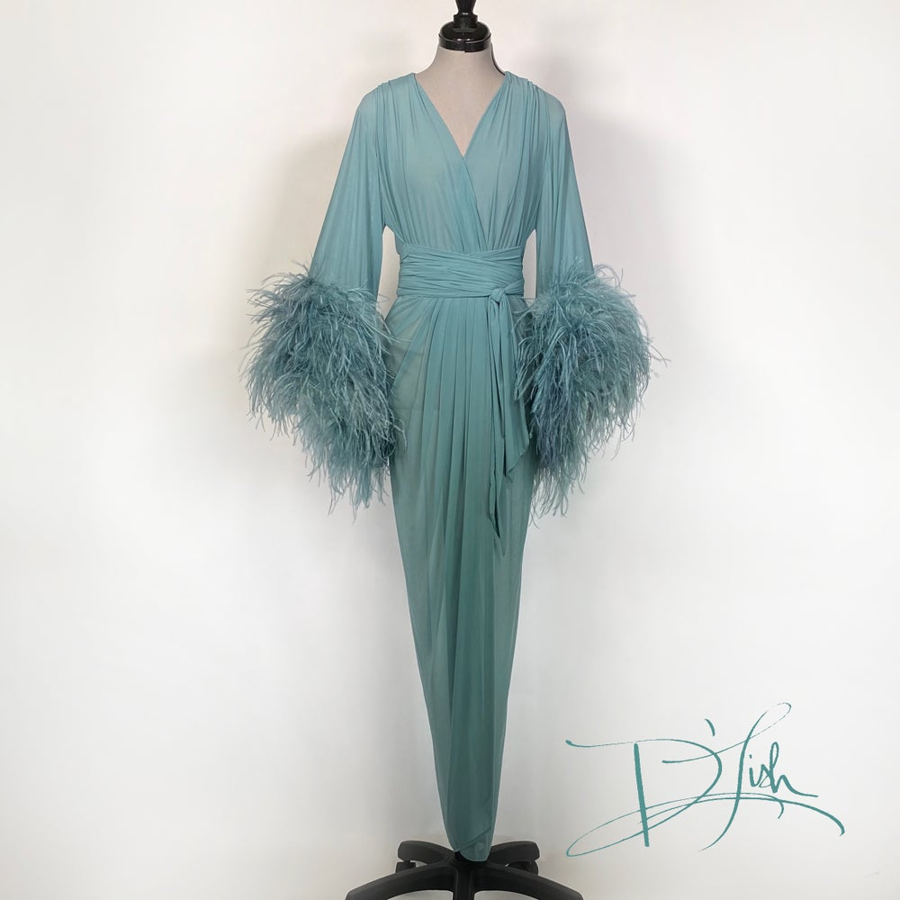 "Image of Blue Slate Sheer ""Selene"" Dressing Gown 10% OFF DISCOUNT CODE: FEMMEFATALE"