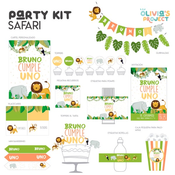 Image of Party Kit Safari Impreso