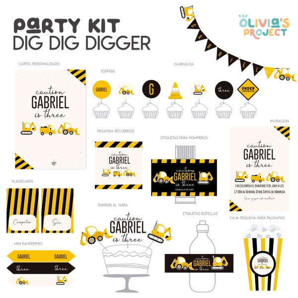 Image of Party Kit Dig Dig Digger Impreso