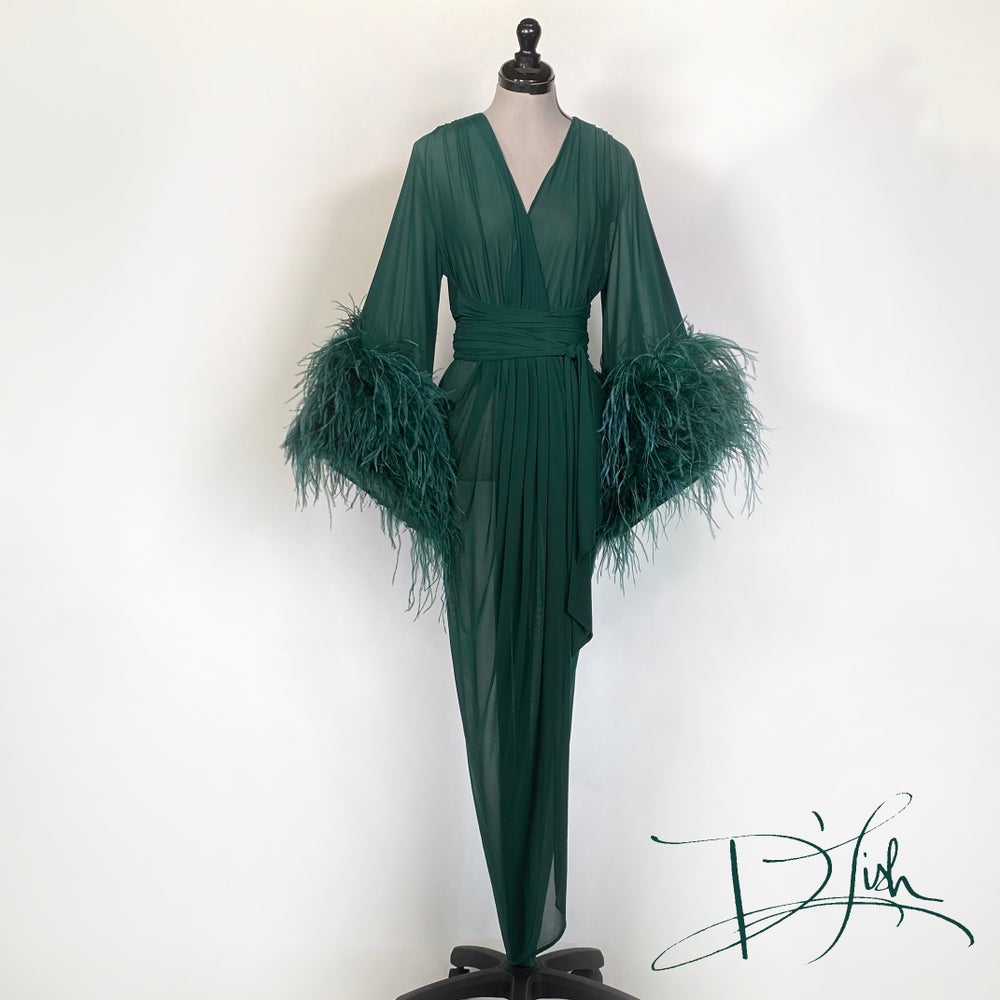 "Image of Deep Green Sheer ""Selene"" Dressing Gown 10% OFF DISCOUNT CODE: FEMMEFATALE"