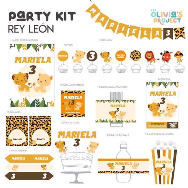 Image of Party Kit Rey León Impreso
