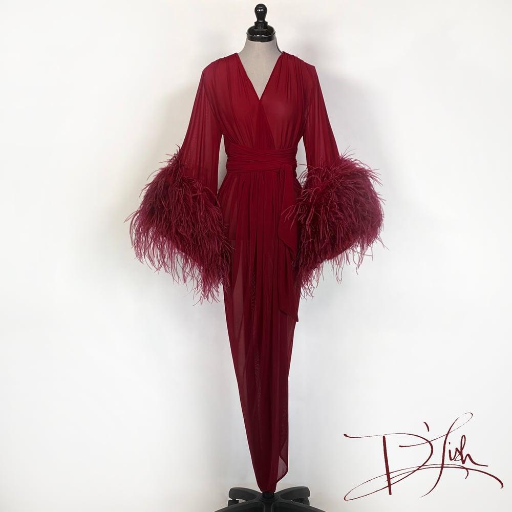 Image of Wine Sheer Selene Dressing Gown 10% OFF DISCOUNT CODE: FEMMEFATALE