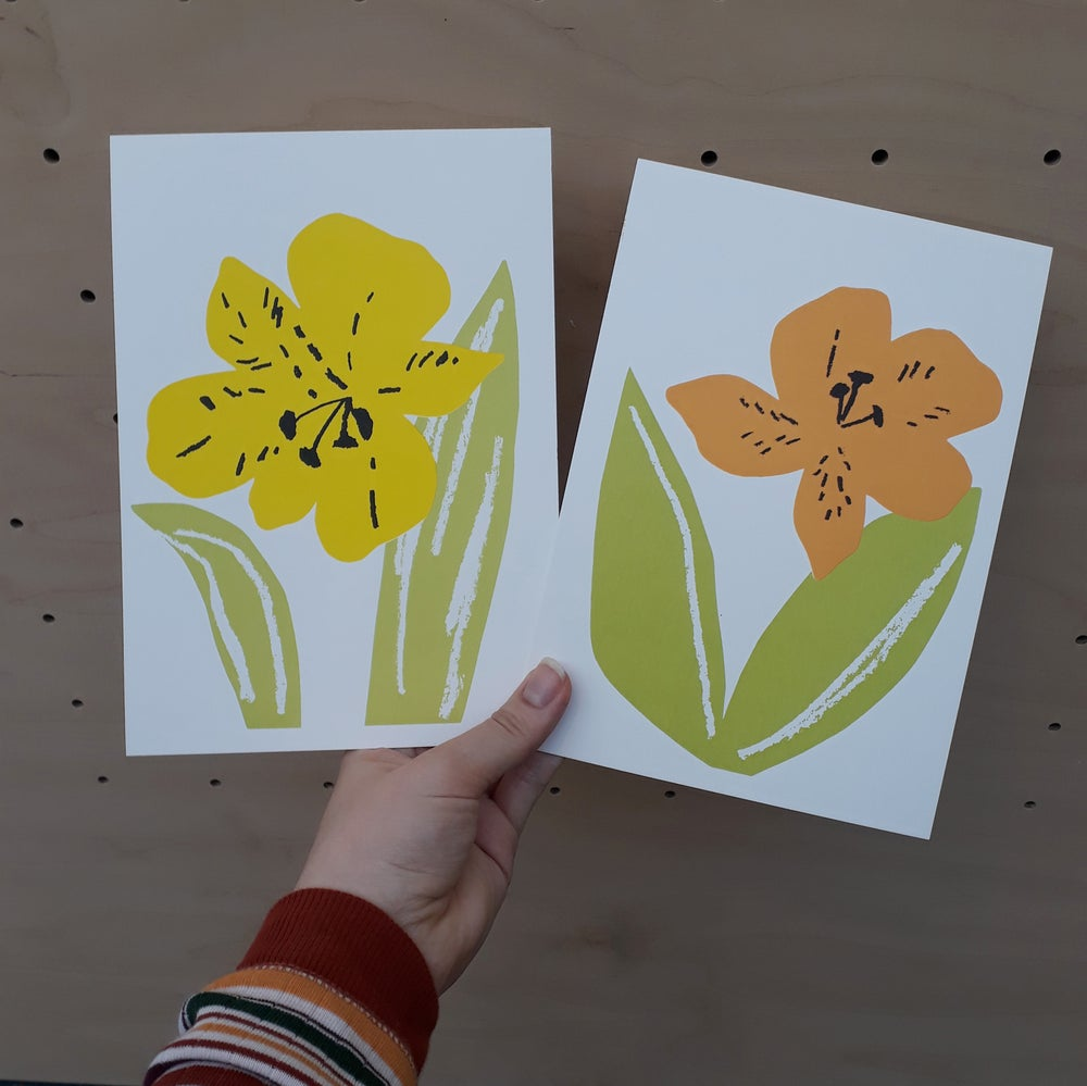 Image of Cut-out Flowers A5 Screenprint