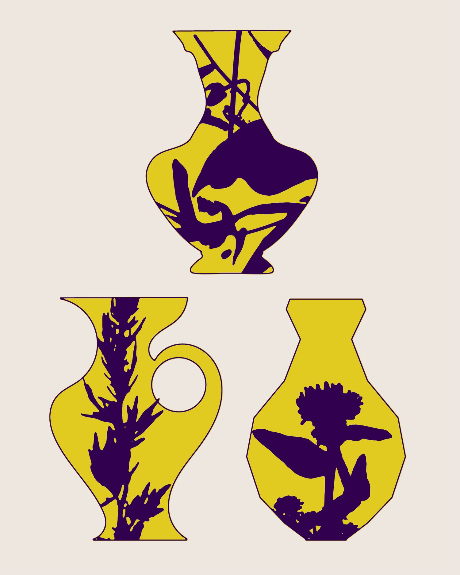 3 vases jaunes