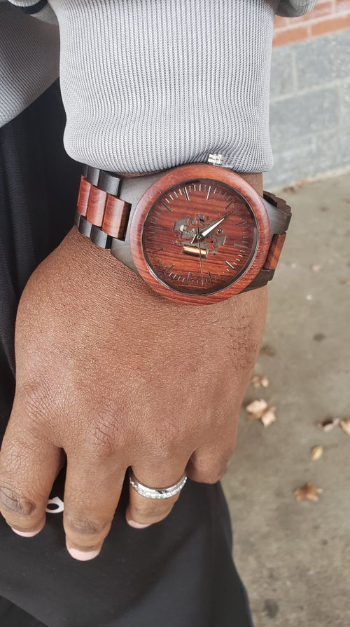 "Image of The ""Earthquake"" Mens Wooden Watch (Only Cherry Wood Available)"