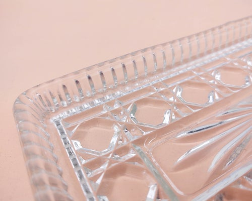 Image of Rectangular Glass Tray with Geometric Texture