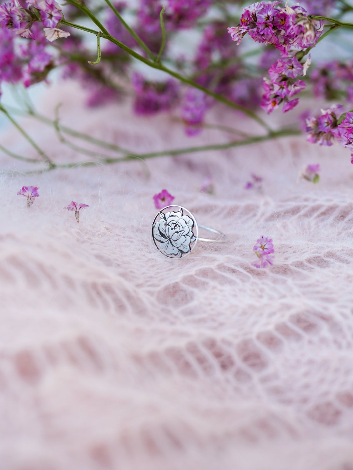 Image of Bague PEONIE IN LOVE Argentée