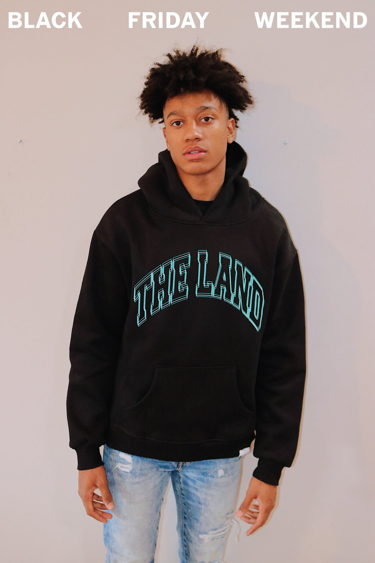 """Premium Collection """"The Land"""" Black/Turquoise Hoodie"""