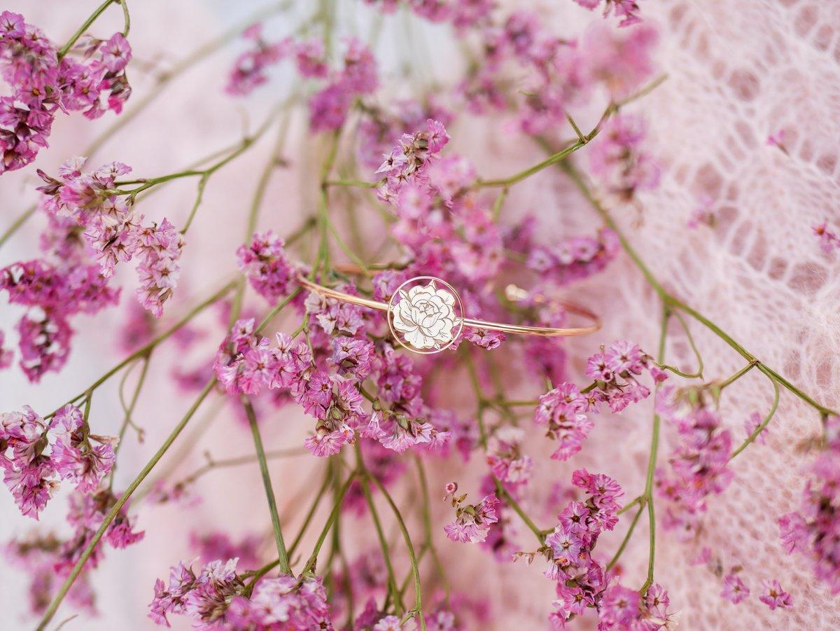 Image of Bracelet Jonc PEONIE IN LOVE Doré