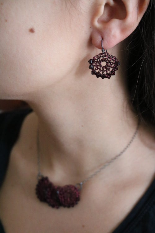Image of CRESCENT EARRINGS - Burgundy
