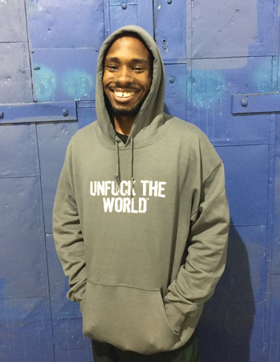 """Image of OFFICIAL """"UNFUCK THE WORLD"""" CHARCOAL PULLOVER HOODIE"""