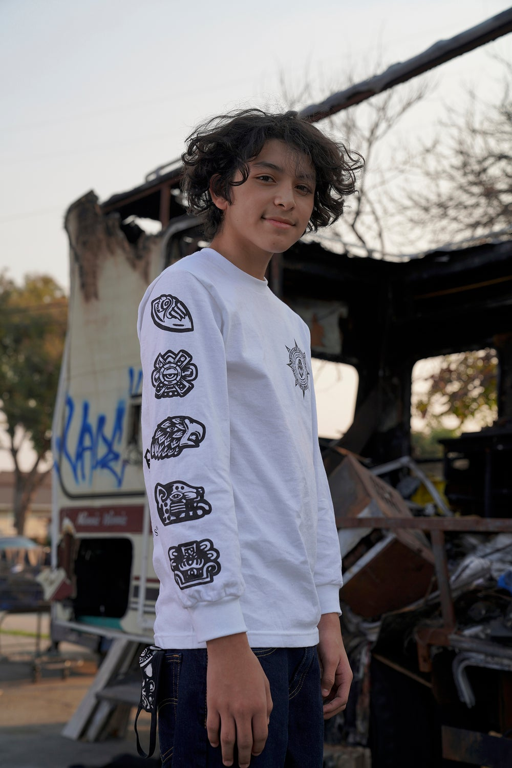 Image of Aztec Reeds White Long Sleeve