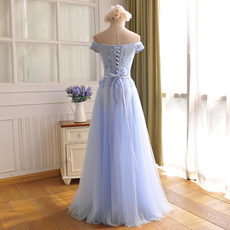 Blue Sweetheart Simple Tulle Party Dress, A-line Long Formal Dress Prom Dress