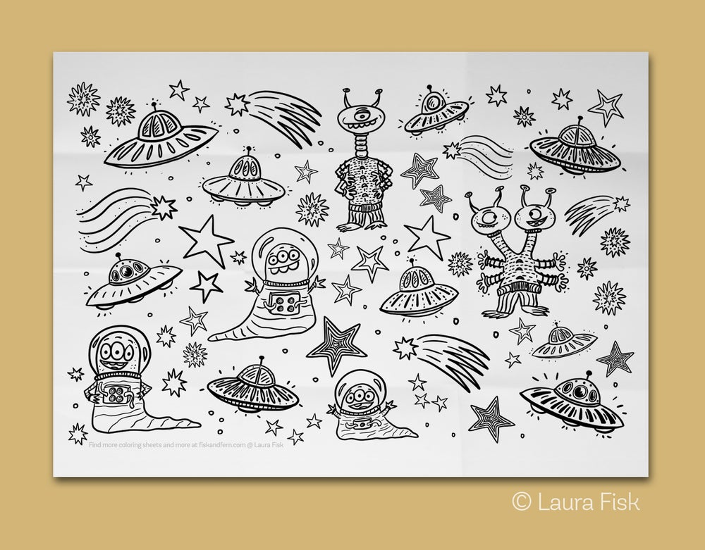 Image of Aliens Giant Coloring Sheet