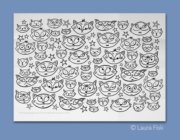 "Image of Cute Cats Giant Coloring Sheet 24"" x 36"""
