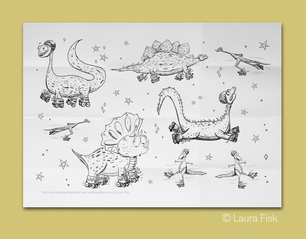 """Image of Roller skating Dinosaurs Giant Coloring Page 24"""" x 36"""""""