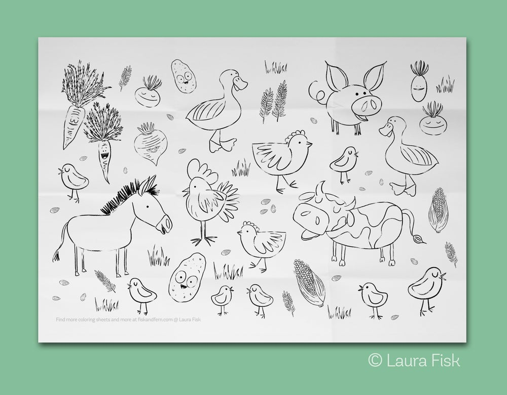 """Image of Farm Animals Giant Coloring Sheet 24"""" x 36"""""""