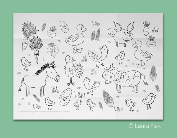 "Image of Farm Animals Giant Coloring Sheet 24"" x 36"""