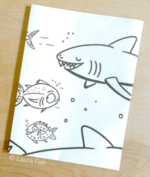 "Image of Sharks in the Sea Giant Coloring Page 24"" x 36"""
