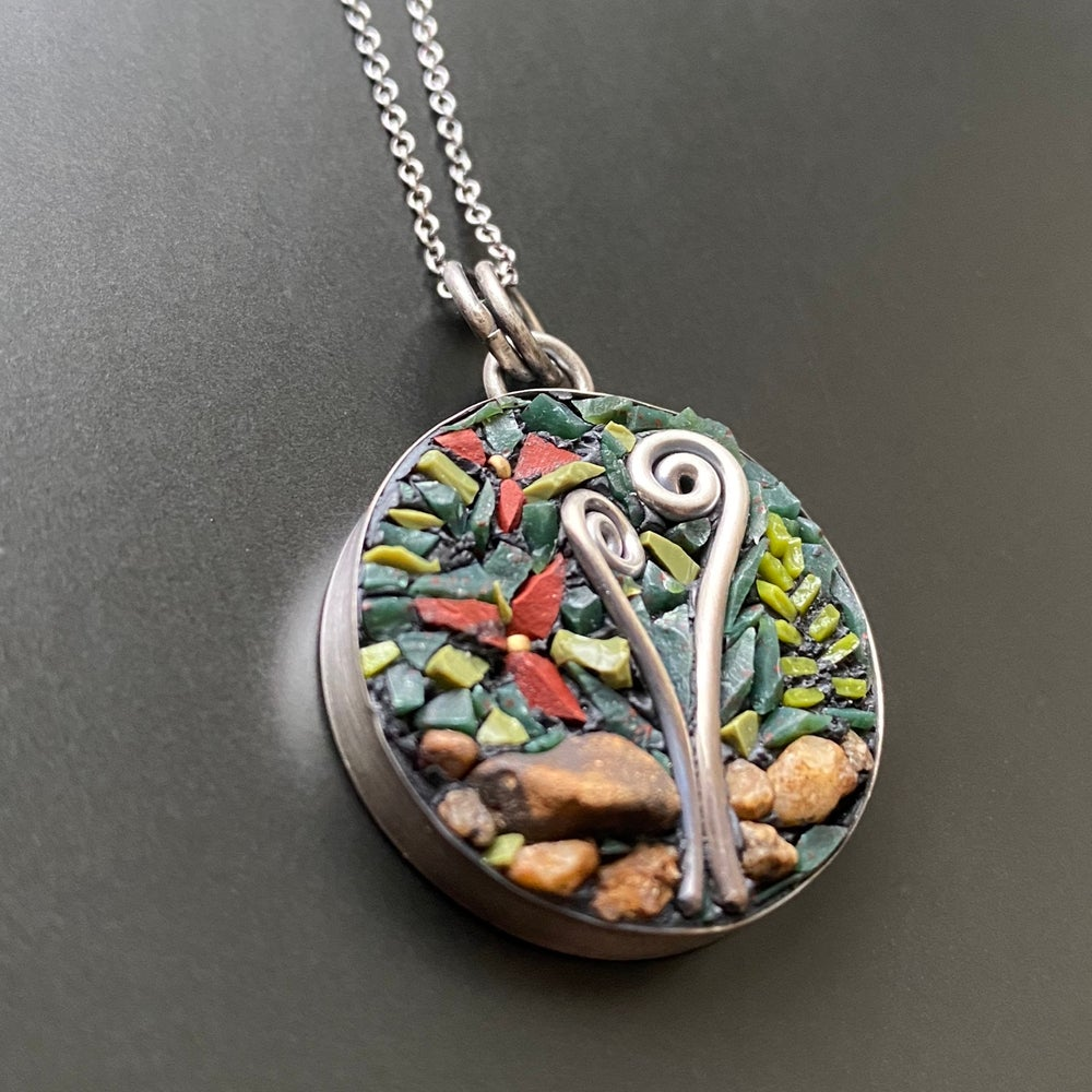 Image of Red Trillium with Fiddlehead Pendant