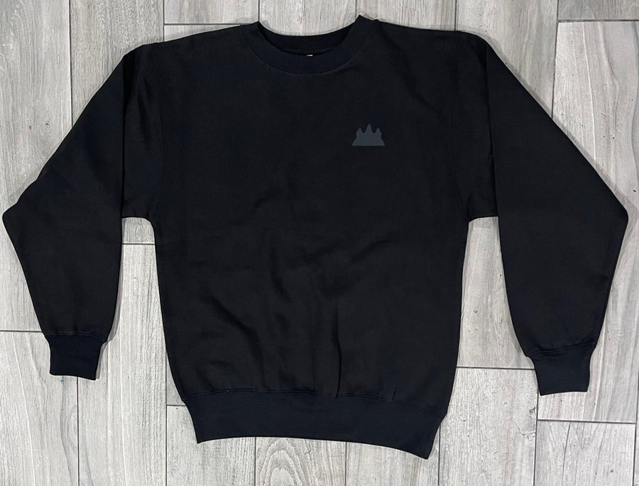 Image of Black on Black Angkor Wat Crewneck Sweater
