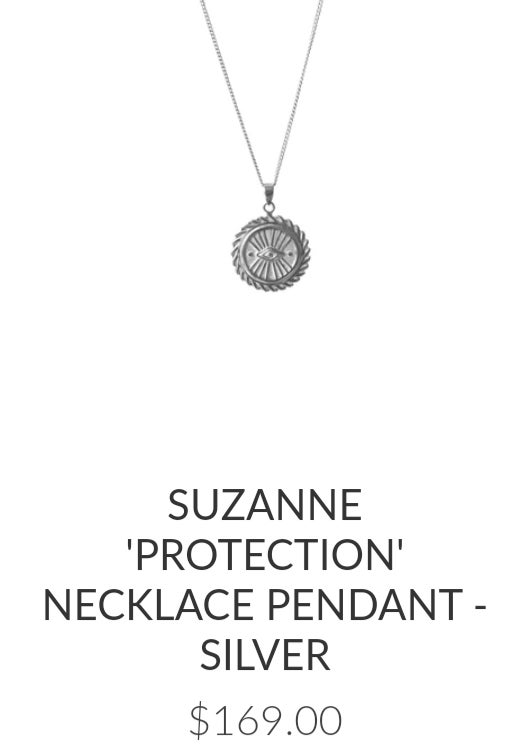 Image of Luna & Rose Suzanne 'Protection' charm and Necklace. Sterling silver.