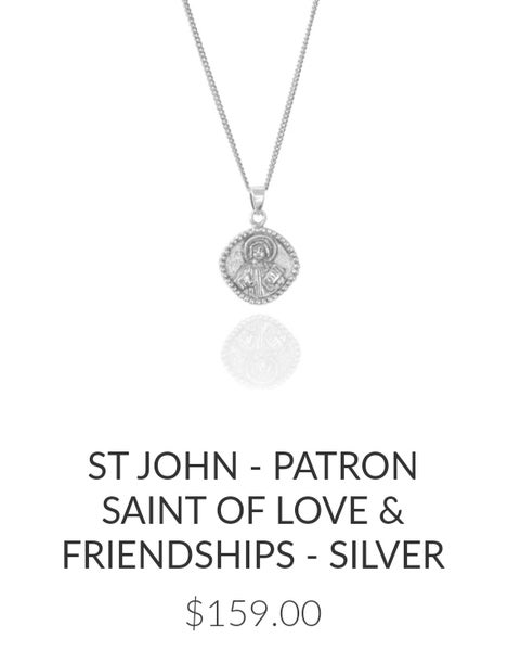 Image of Luna & Rose St John- Patron Saint of Love & Friendships. Sterling Silver.