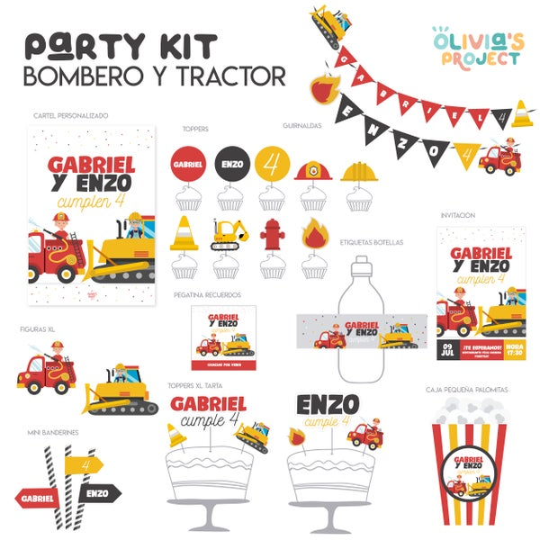 Image of Party Kit Bombero + Tractor