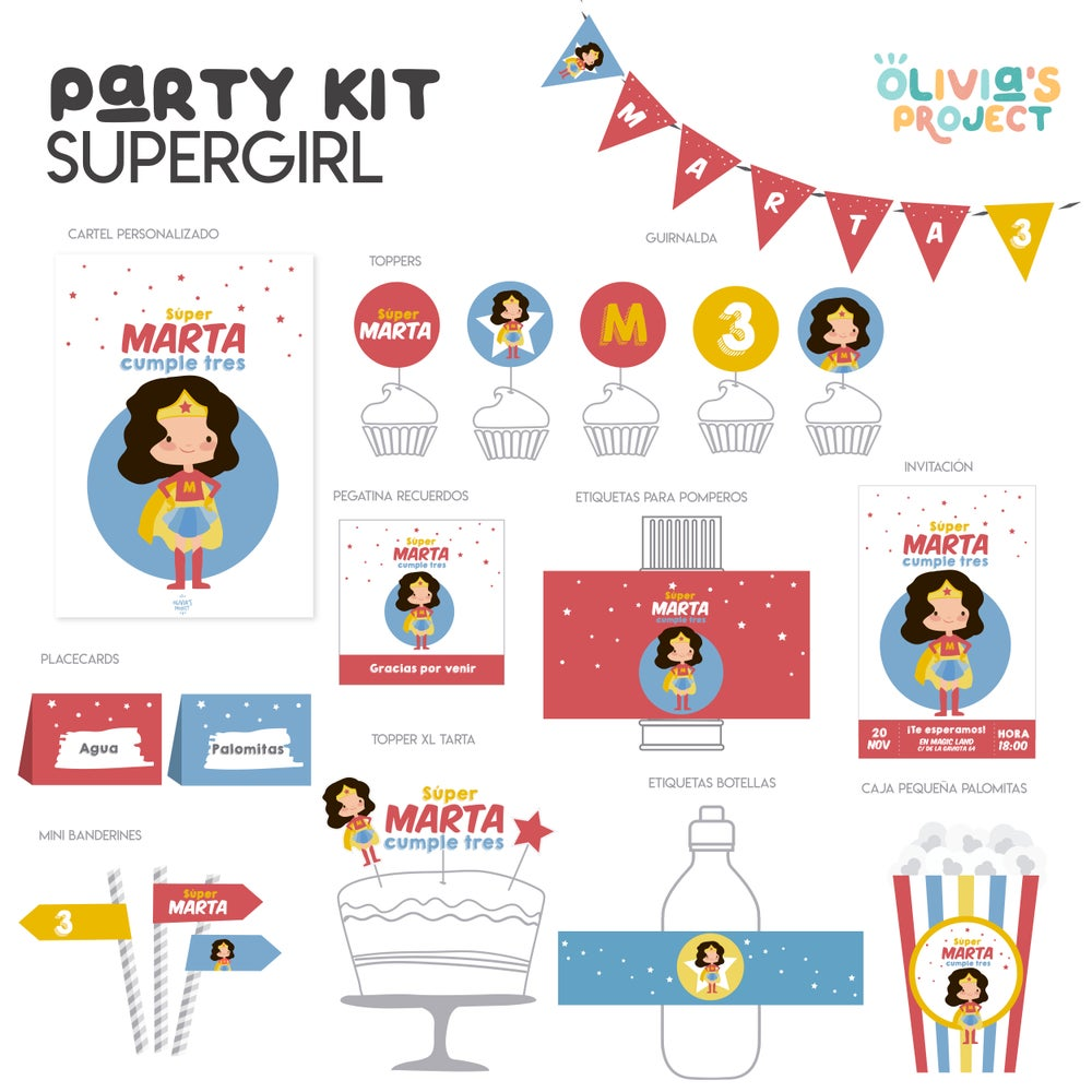Image of Party Kit SuperGirl Impreso