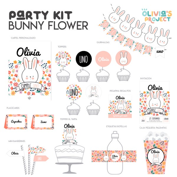 Image of Party Kit Bunny Flower Impreso
