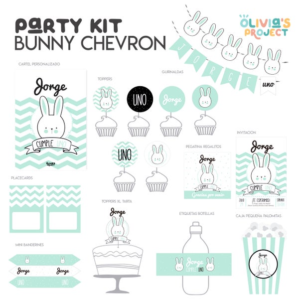 Image of Party Kit Bunny Chevron Impreso