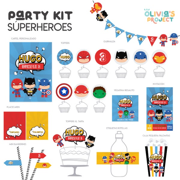 Image of Party Kit Superhéroes Impreso