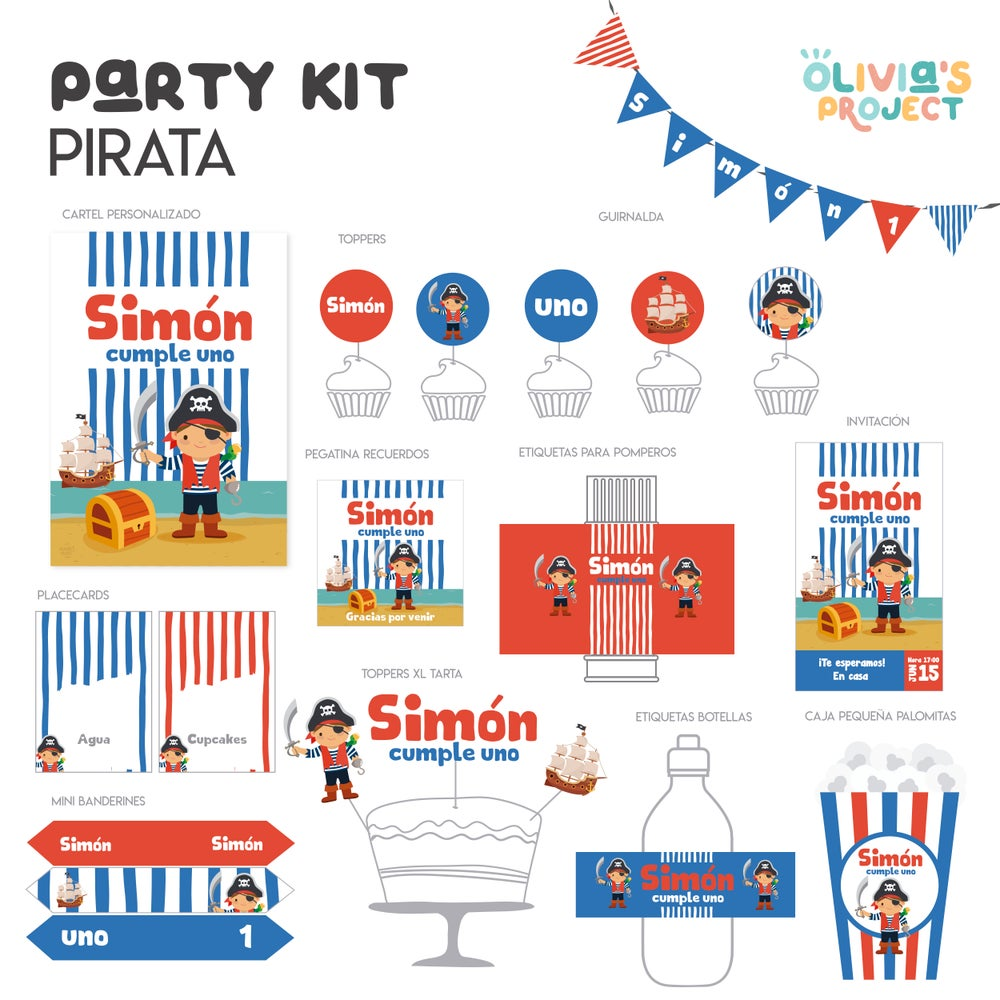 Image of Party Kit Piratas Impreso