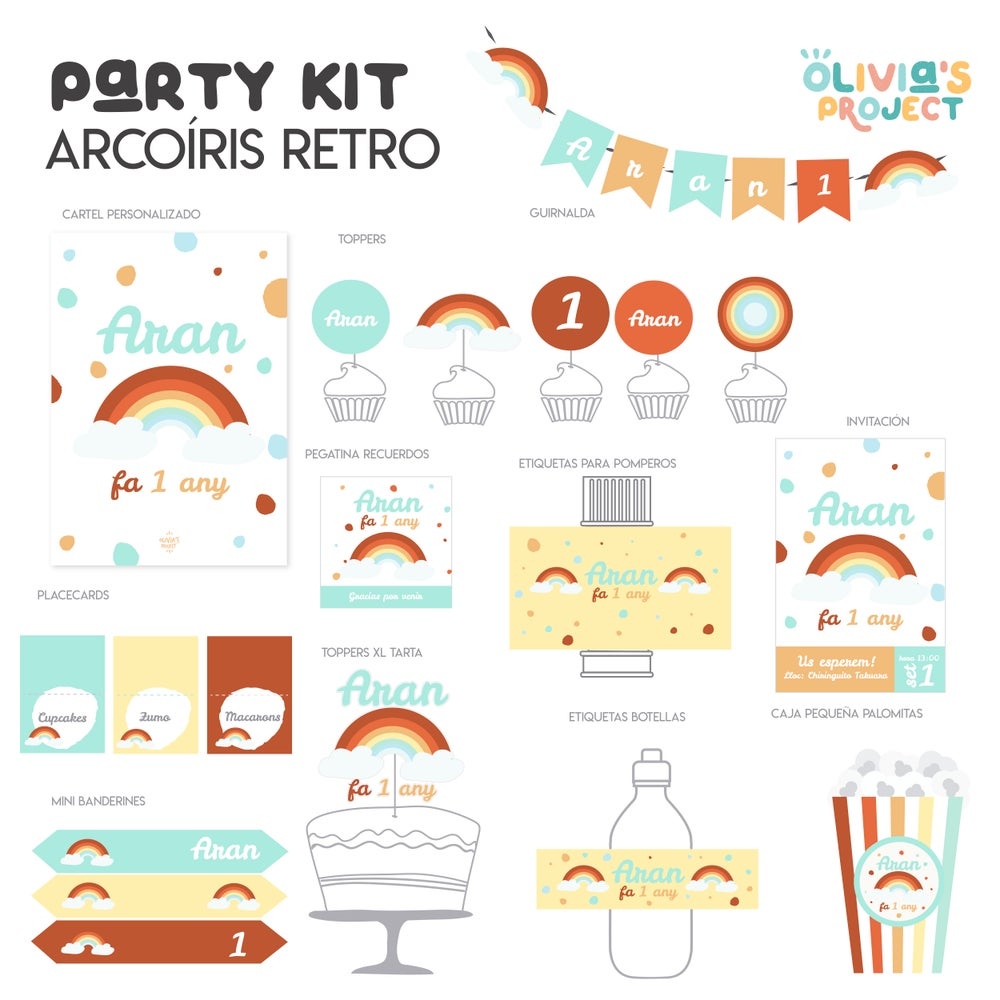 Image of Party Kit Arcoíris Retro Impreso