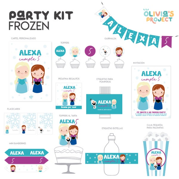 Image of  Party Kit Frozen Impreso