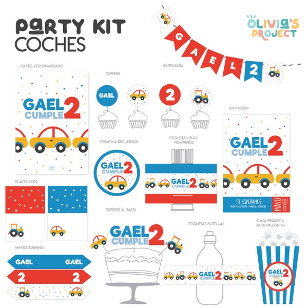 Image of Party Kit Coches Impreso