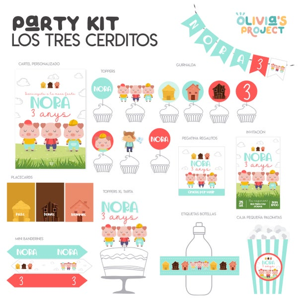 Image of Party Kit Los tres cerditos Impreso