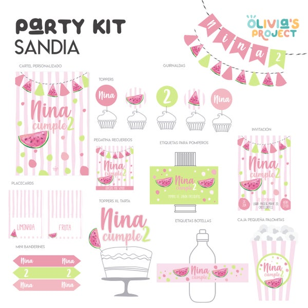Image of Party Kit Sandía Impreso