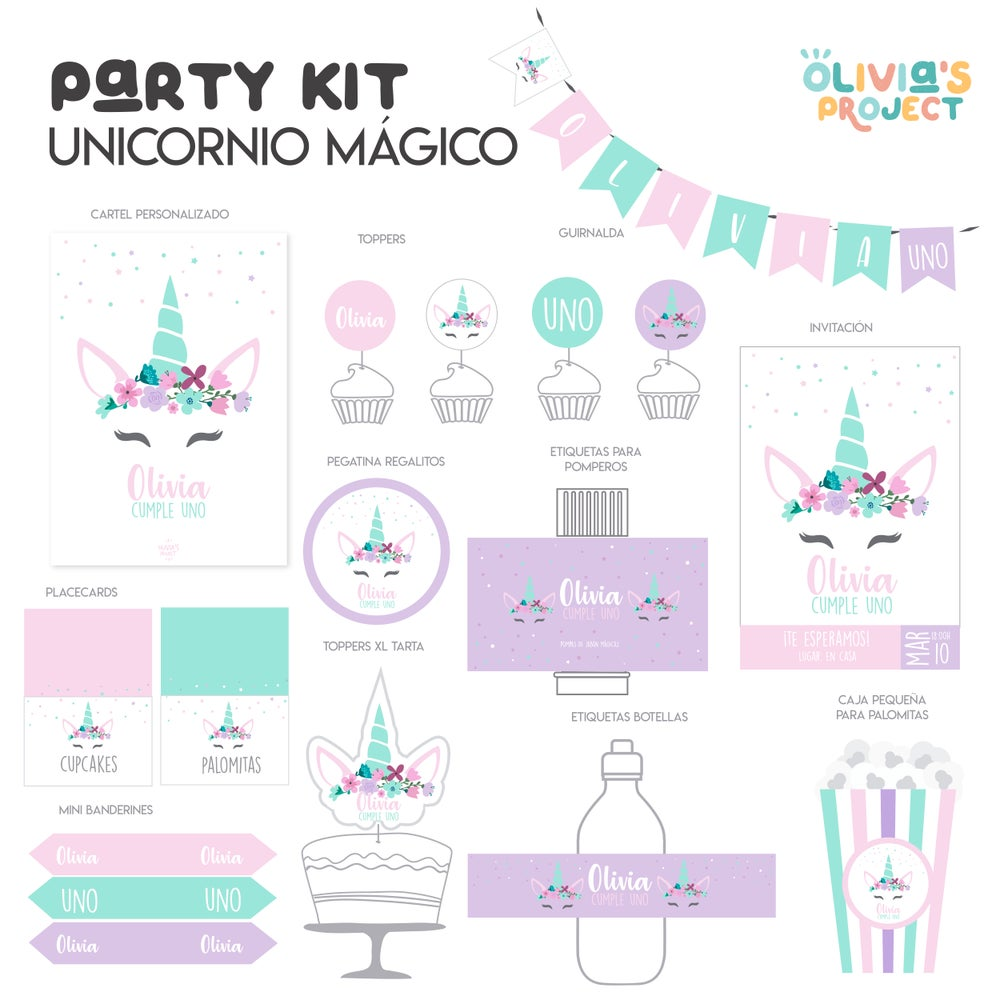 Image of Party Kit Unicorno Mágico Impreso